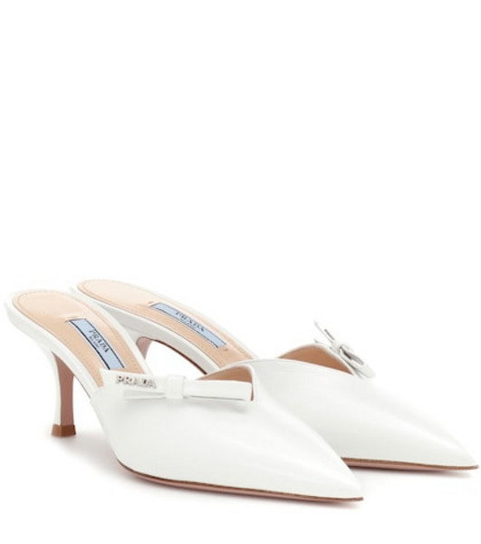 Prada Saffiano leather mules in white