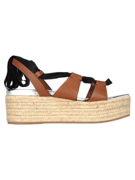 Miu Miu Miu Miu Platform Ribbon Sandals in brown