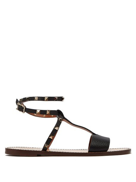 Valentino - Rockstud Ankle Strap Grained Leather Sandals - Womens - Black