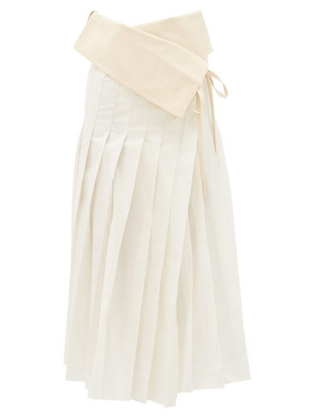 2 Moncler 1952 - Asymmetric Pleated Cotton-blend Taffeta Skirt - Womens - White Multi