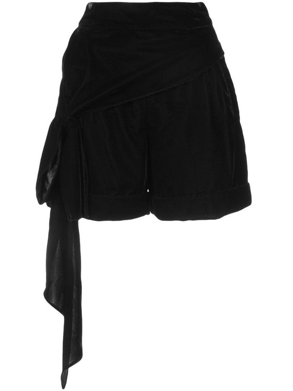 Hellessy bow detail velour shorts in black