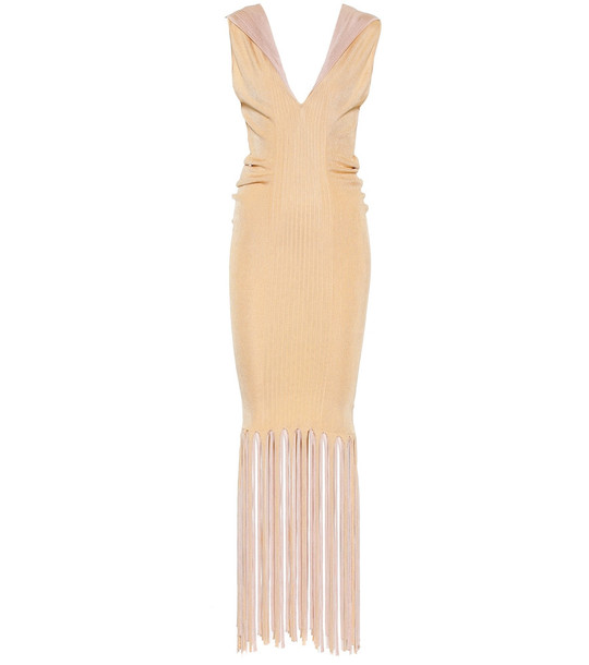 Bottega Veneta Fringed ribbed-knit midi dress in beige