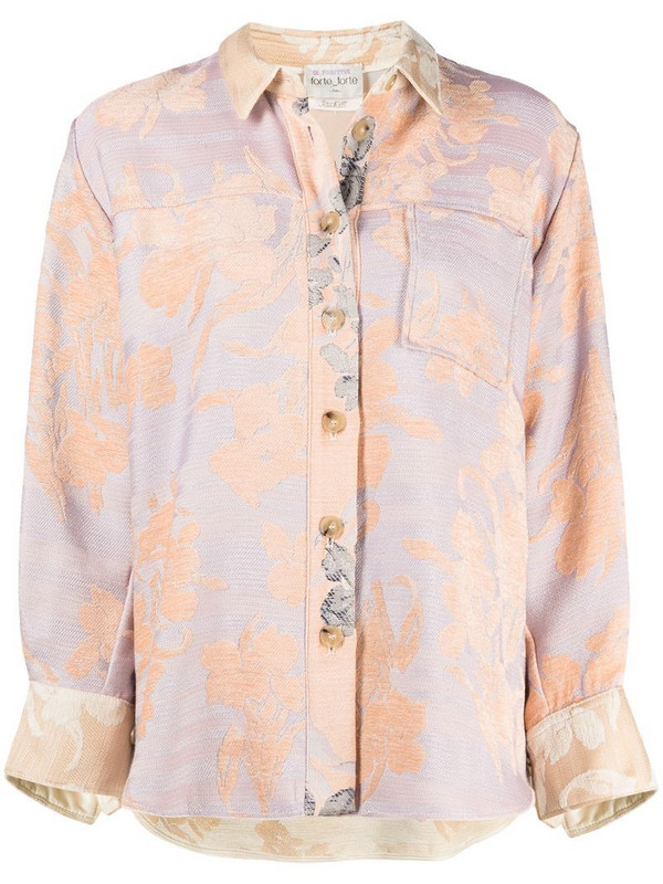 Forte Forte jacquard floral pattern shirt in neutrals