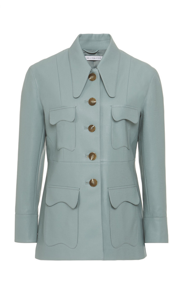 Rejina Pyo Olivia Faux Leather Jacket Size: 6 in blue