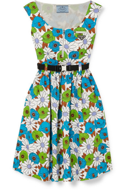 Prada - Belted Floral-print Cotton-poplin Dress - Blue