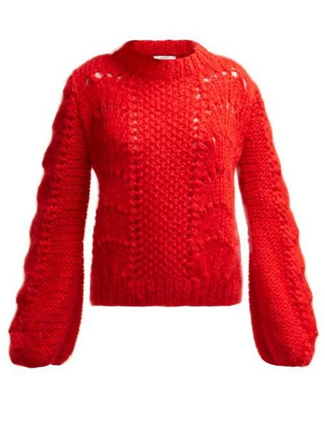 Ganni - Julliard Mohair Knit Sweater - Womens - Red