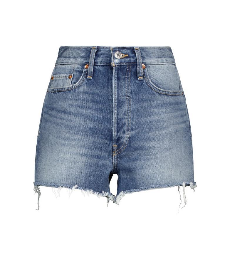 Re/Done 70s high-rise denim shorts in blue