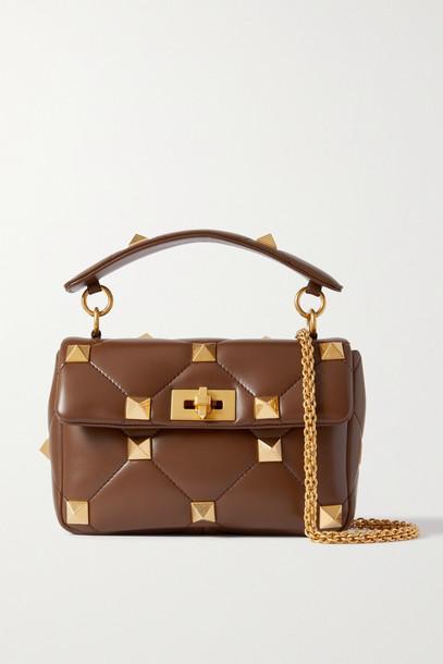VALENTINO - Valentino Garavani Roman Stud Quilted Leather Shoulder Bag - Brown