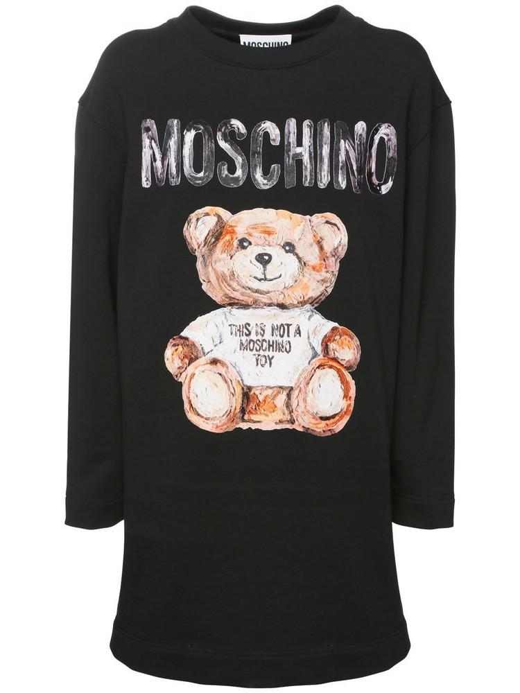 MOSCHINO Logo Print Cotton Sweat Dress in black