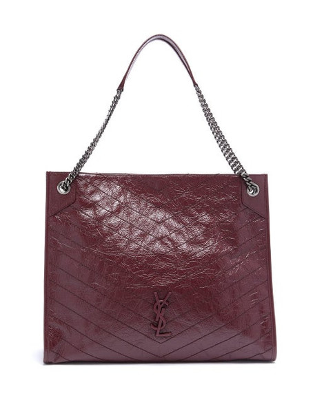 Saint Laurent - Niki Large Quilted-leather Tote Bag - Womens - Burgundy
