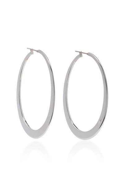 Sidney Garber 18K White Gold Crescent Oval Hoop Earrings