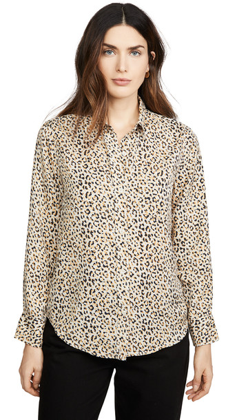 Current/Elliott The Derby Shirt in gold / leopard