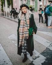 coat,green coat,long coat,black boots,plaid skirt,midi skirt,green bag,burberry,scarf,black turtleneck top,beret