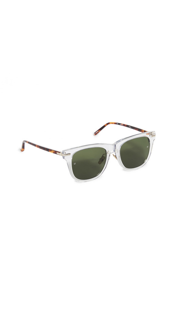 Linda Farrow Luxe Chysler Sunglasses in gold / green / clear