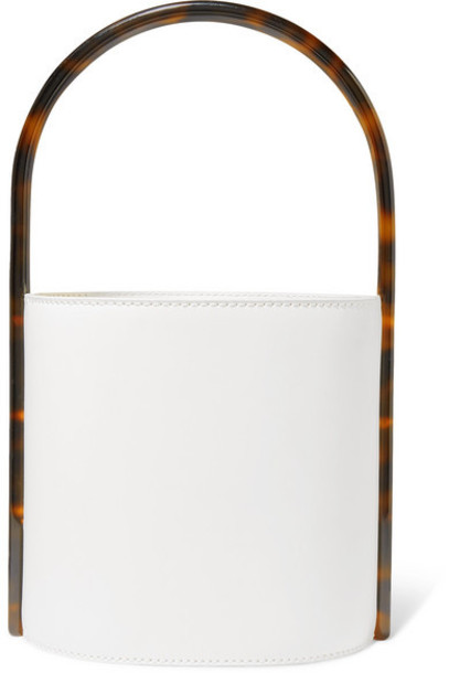 STAUD - Bissett Leather And Tortoiseshell Acrylic Bucket Bag - White