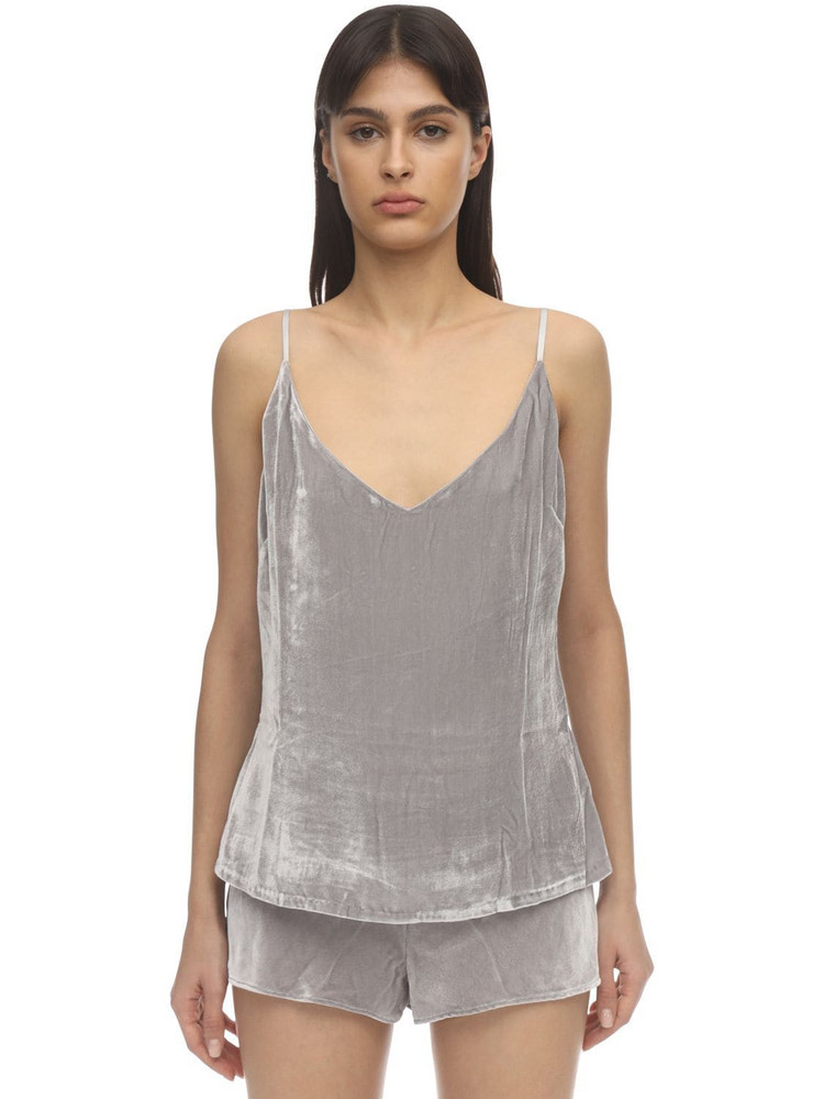 SLEEPING WITH JACQUES The Pm To Am Velvet Camisole Top in grey