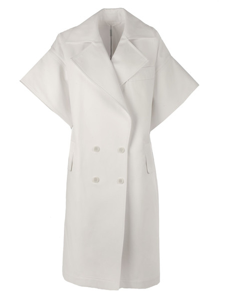 Max Mara Double Breasted Long Coat in white