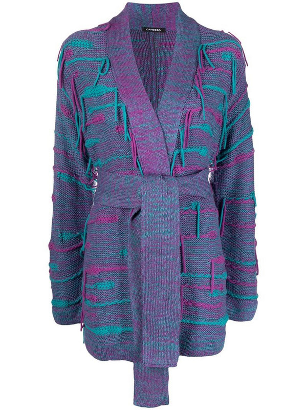 Canessa fringed cashmere-blend cardigan in purple