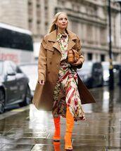 shoes,over the knee boots,orange,midi dress,shirt dress,victoria beckham,trench coat,bag
