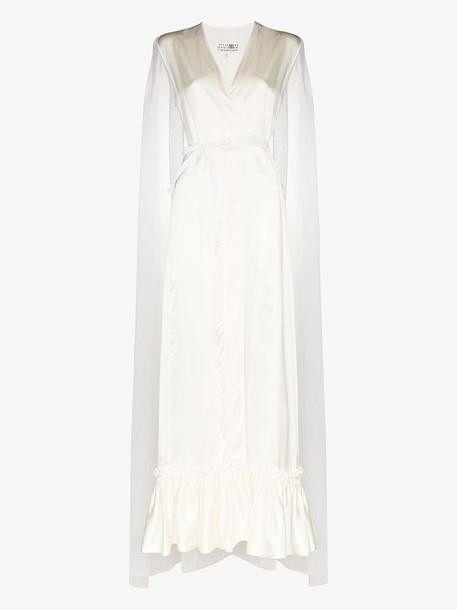 Mm6 Maison Margiela V-neck sleeveless side wrap maxi gown in white