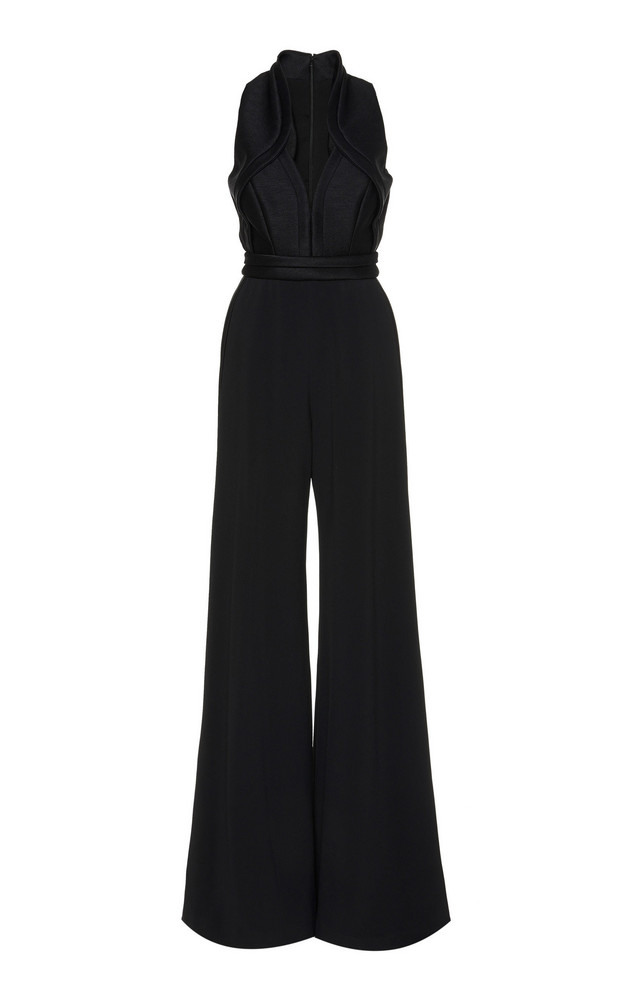 Brandon Maxwell Neoprene Wide-Leg Jumpsuit Size: 0 in black