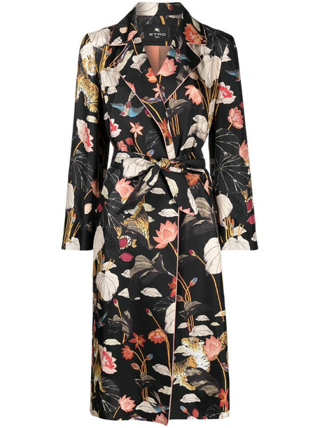 Etro Water Lily print belted coat in black