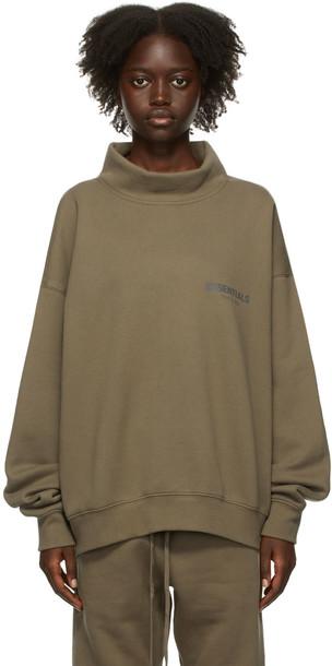 Essentials Taupe Mock Neck Sweatshirt