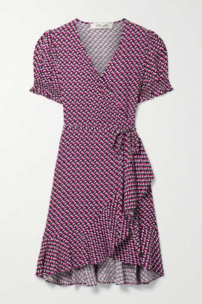 Diane von Furstenberg - Emilia Ruffled Printed Crepe Mini Wrap Dress - Bright pink
