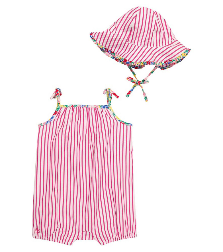 Polo Ralph Lauren Kids Baby striped cotton playsuit and hat set in pink