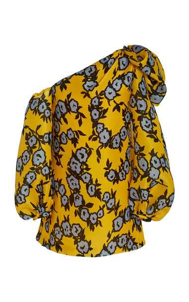 Carolina Herrera One-Shoulder Floral-Print Silk Shift Dress