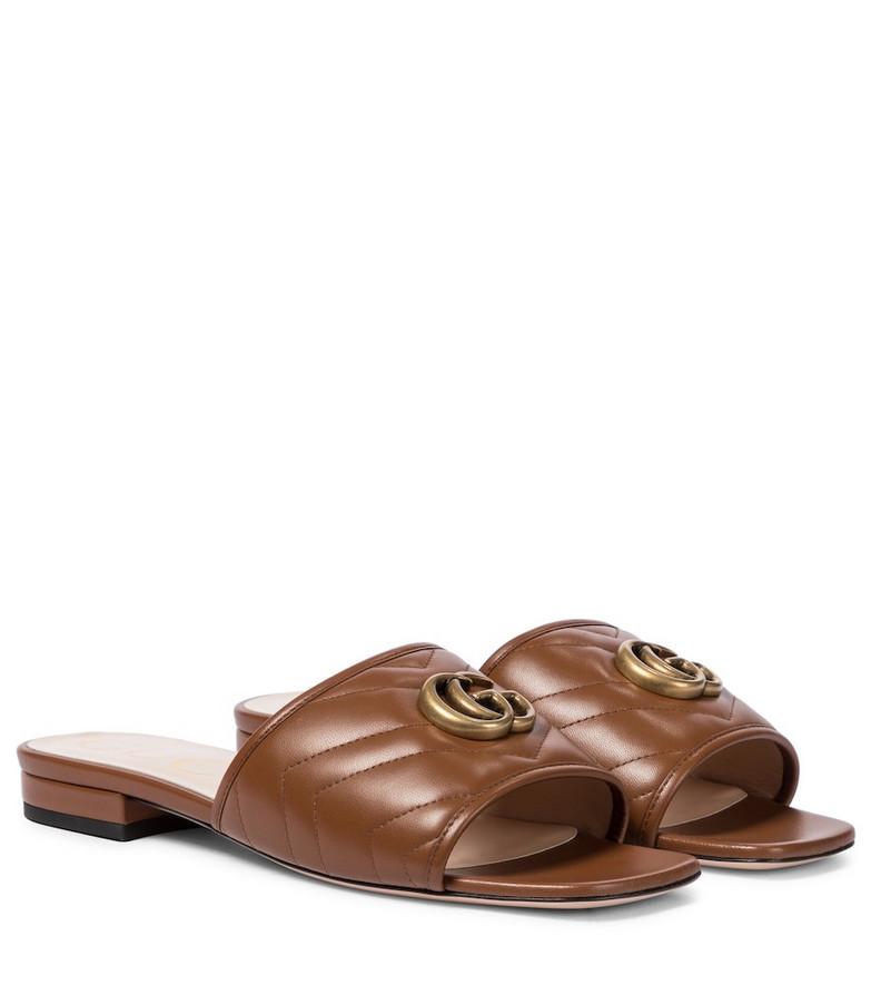 Gucci Double G leather sandals in brown