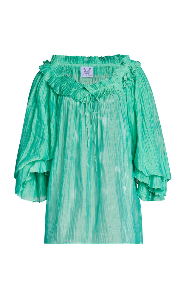 Thierry Colson Roussia Pleated Cotton-Silk Top in green