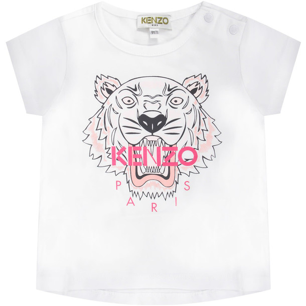 Kenzo Kids White Babygirl T-shirt With Iconic Tiger And Fucshia Logo
