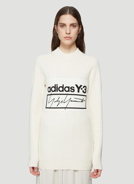 Y-3 Logo Ribbed Knit Sweater in Beige size L