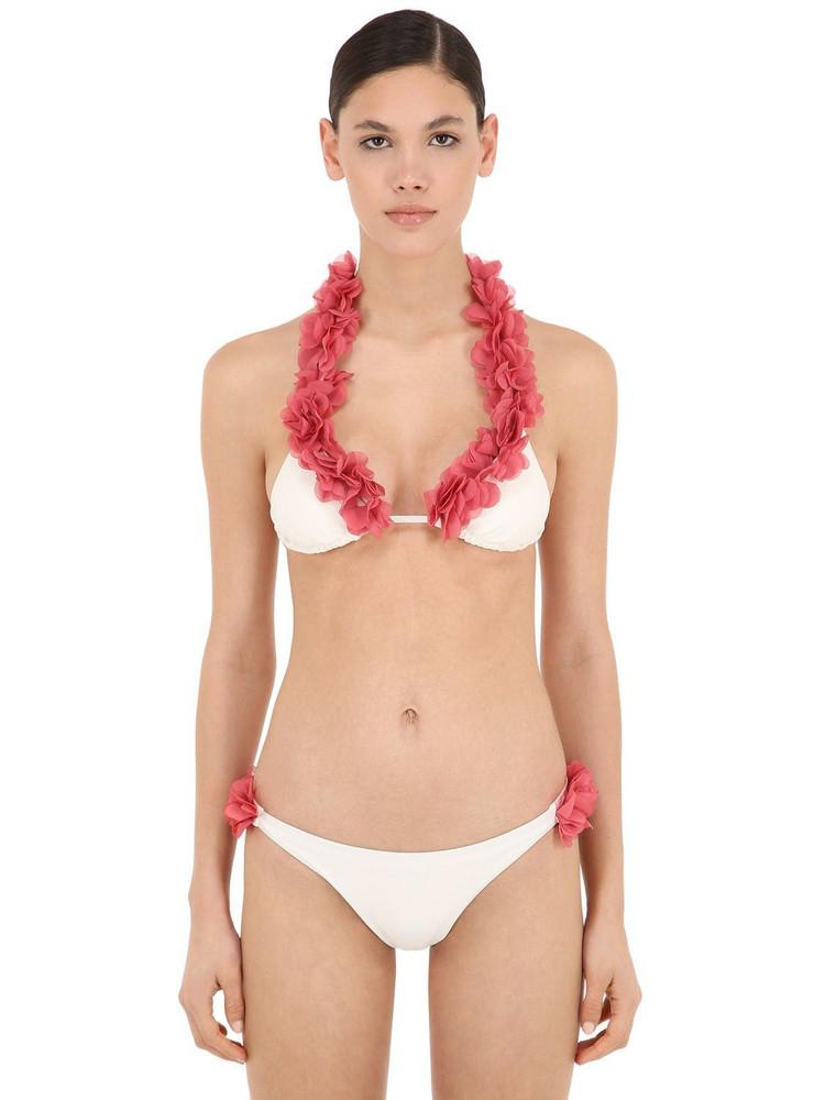 LA REVECHE Jamilia Lycra Triangle Bikini in ivory
