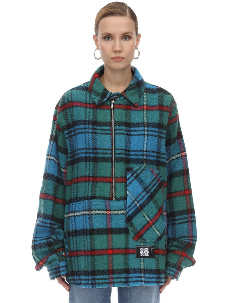 WE11 DONE English Check Anorak Shirt in blue / green