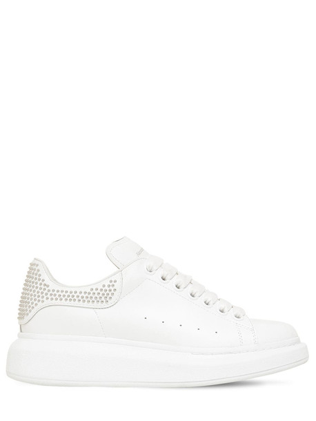 ALEXANDER MCQUEEN 45mm Leather & Studs Sneakers in white