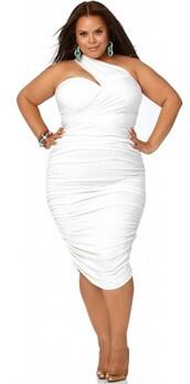 dress,one shoulder,white plus size dress,white dress