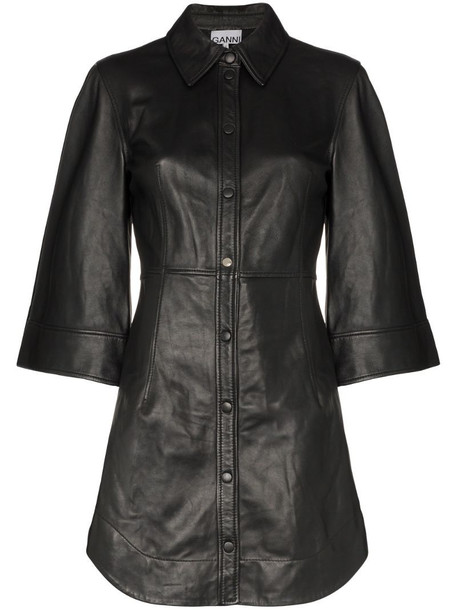 GANNI wide-sleeve mini dress in black