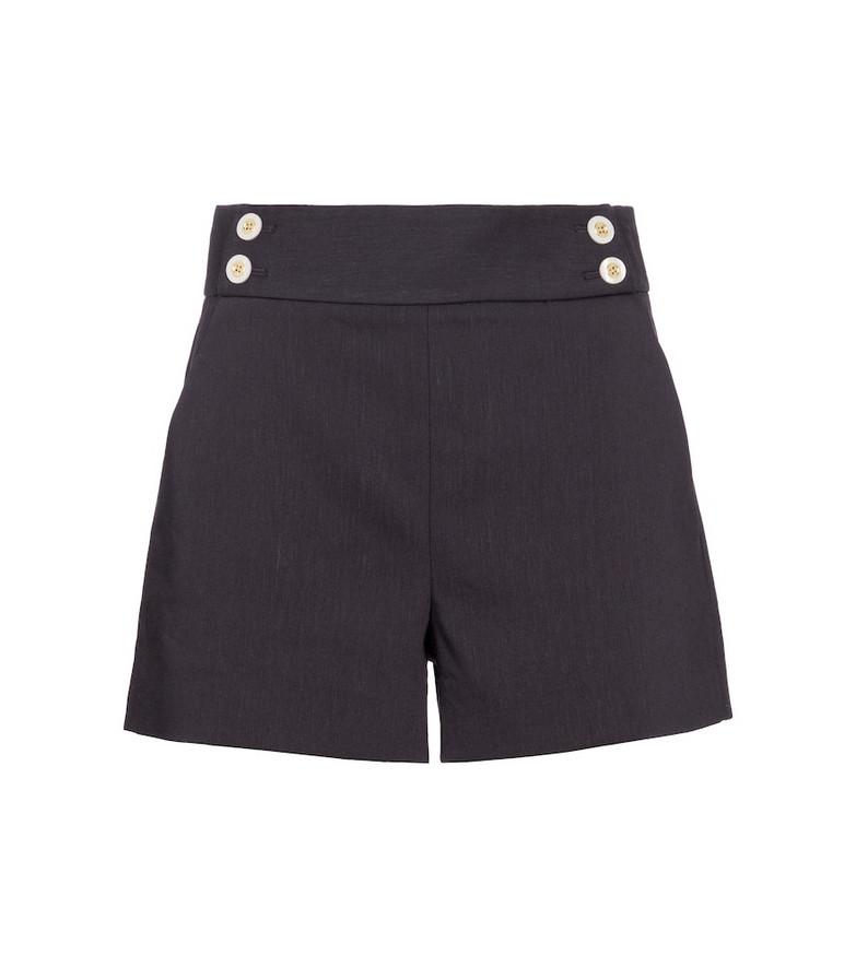 Veronica Beard Kimm linen and wool-blend shorts in blue