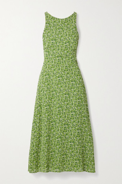 Reformation - Harleen Open-back Floral-print Crepe De Chine Midi Dress - Green