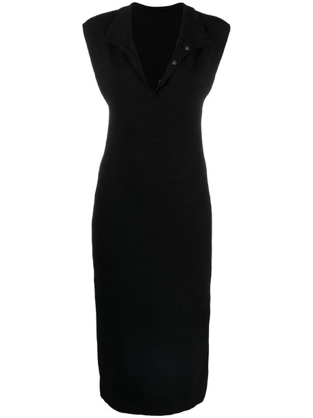 Jacquemus polo collar fitted dress in black