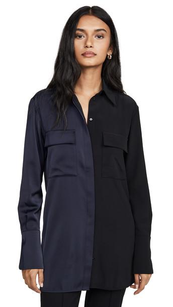 Victoria Victoria Beckham Panelled Shirt in black / midnight