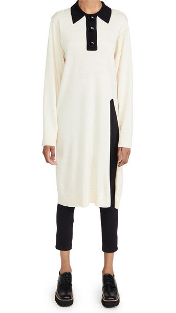 pushBUTTON Collar Knit Slit Dress in ivory