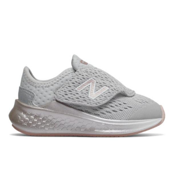 New Balance Fresh Foam Fast Hook and Loop Kids' Shoes - Grey/Pink (ITFSTMG)