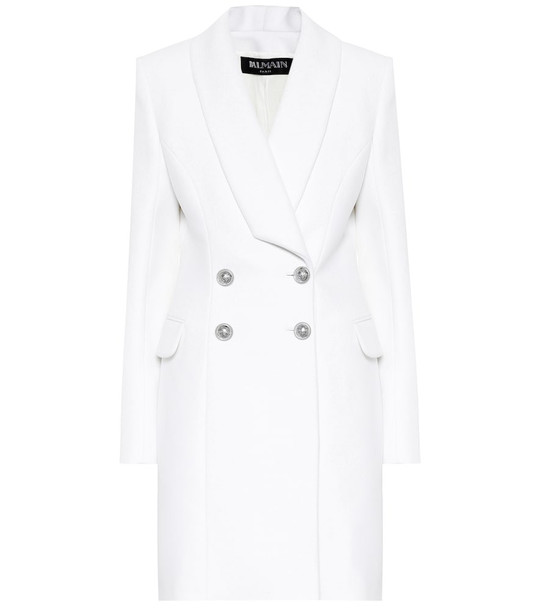 Balmain Wool and cashmere coat in white