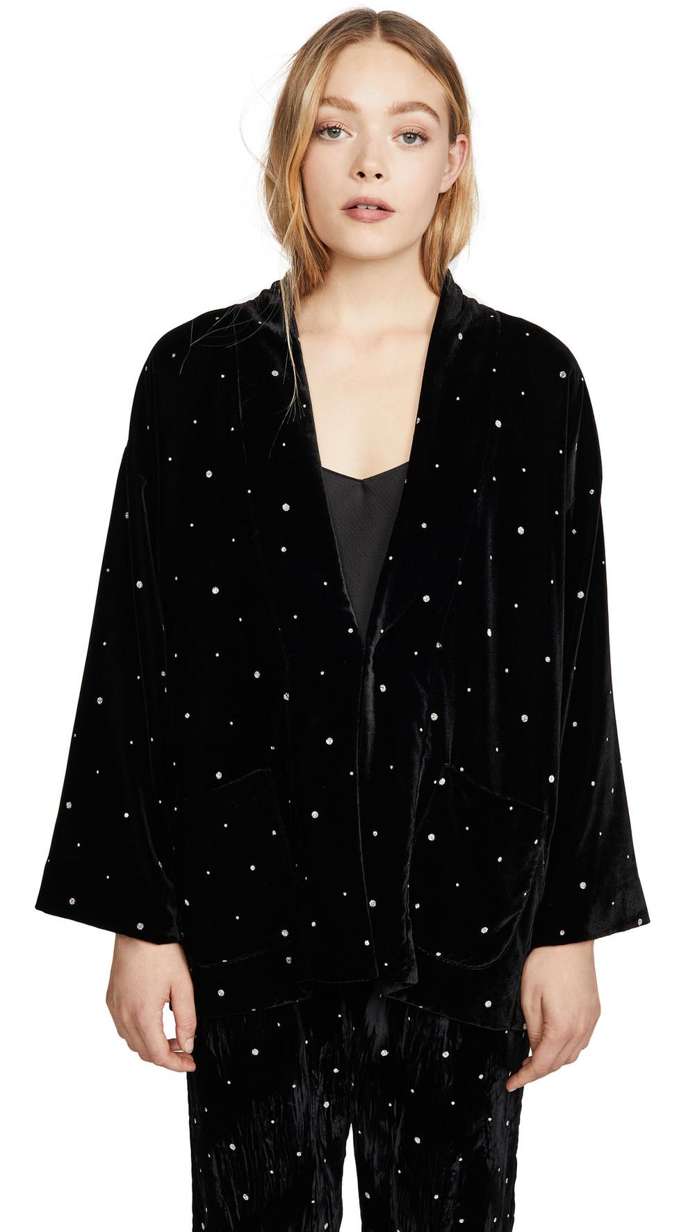 Forte Forte Glitter Velvet Kimono Jacket in nero