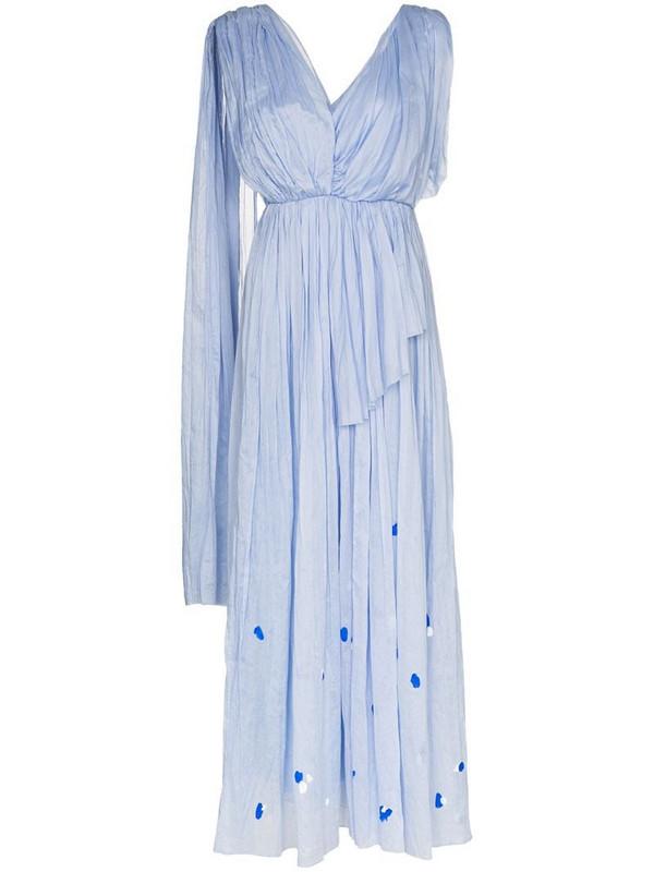 Vika Gazinskaya asymmetric pleated maxi dress in blue