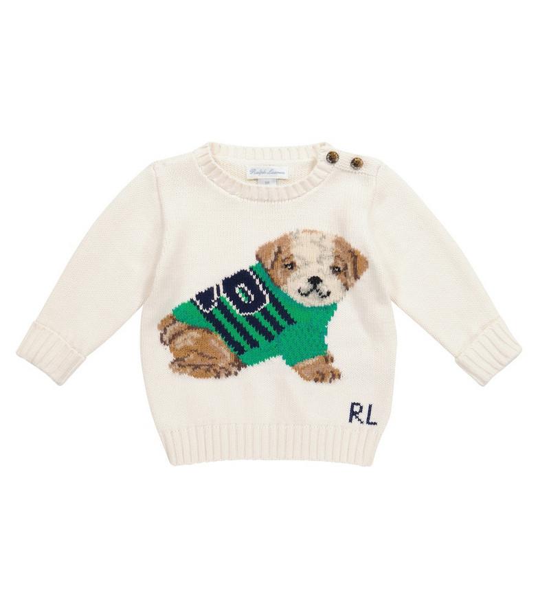 Polo Ralph Lauren Kids Baby cotton sweater in white