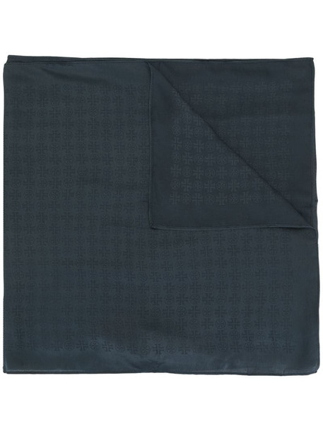 Tory Burch tonal logo oblong scarf in blue
